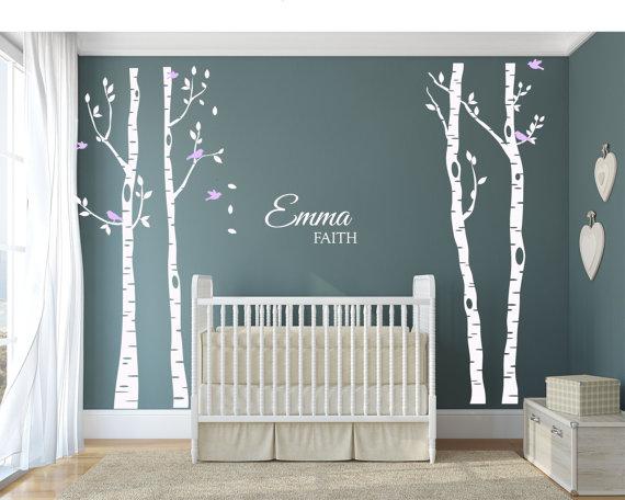 Sticker mural forêt de bouleaux, arbres de bouleau et oiseaux, stickers muraux en vinyle