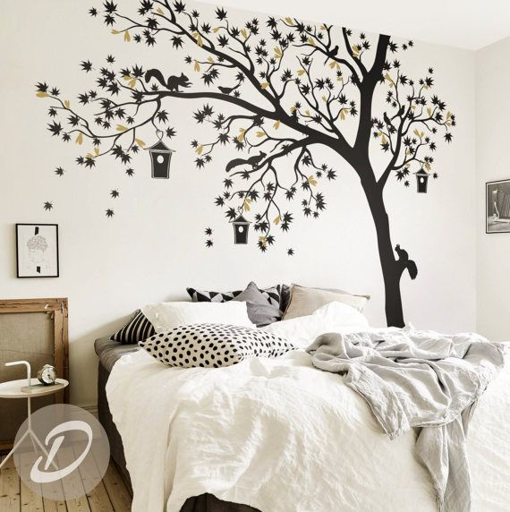 Sticker mural grand arbre / oiseaux arbre autocollant mural / arbre tatouage art mural / grand sticker mural pour sticker mural chambre d'enfant pour chambre de bébé-AM002