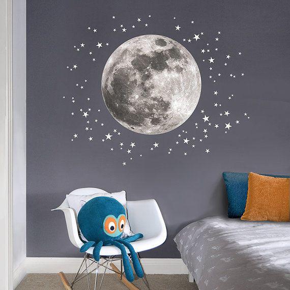 Stickers muraux en tissu Moon & Stars pour la pépinière et la pépinière