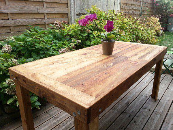 Table À Manger En Bois De Palettes / Reclaimed Pallets Wood Dining Table Pallet…