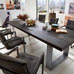 Table à manger en chêne massif noir différentes tailles »SHON«