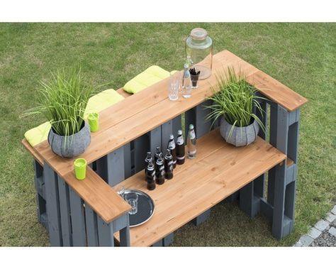Table à palette bois 188x80x122 gris