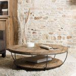 Table basse coque fil métal noir et double plateaux en Teck recyclé D100xH35cm SWING