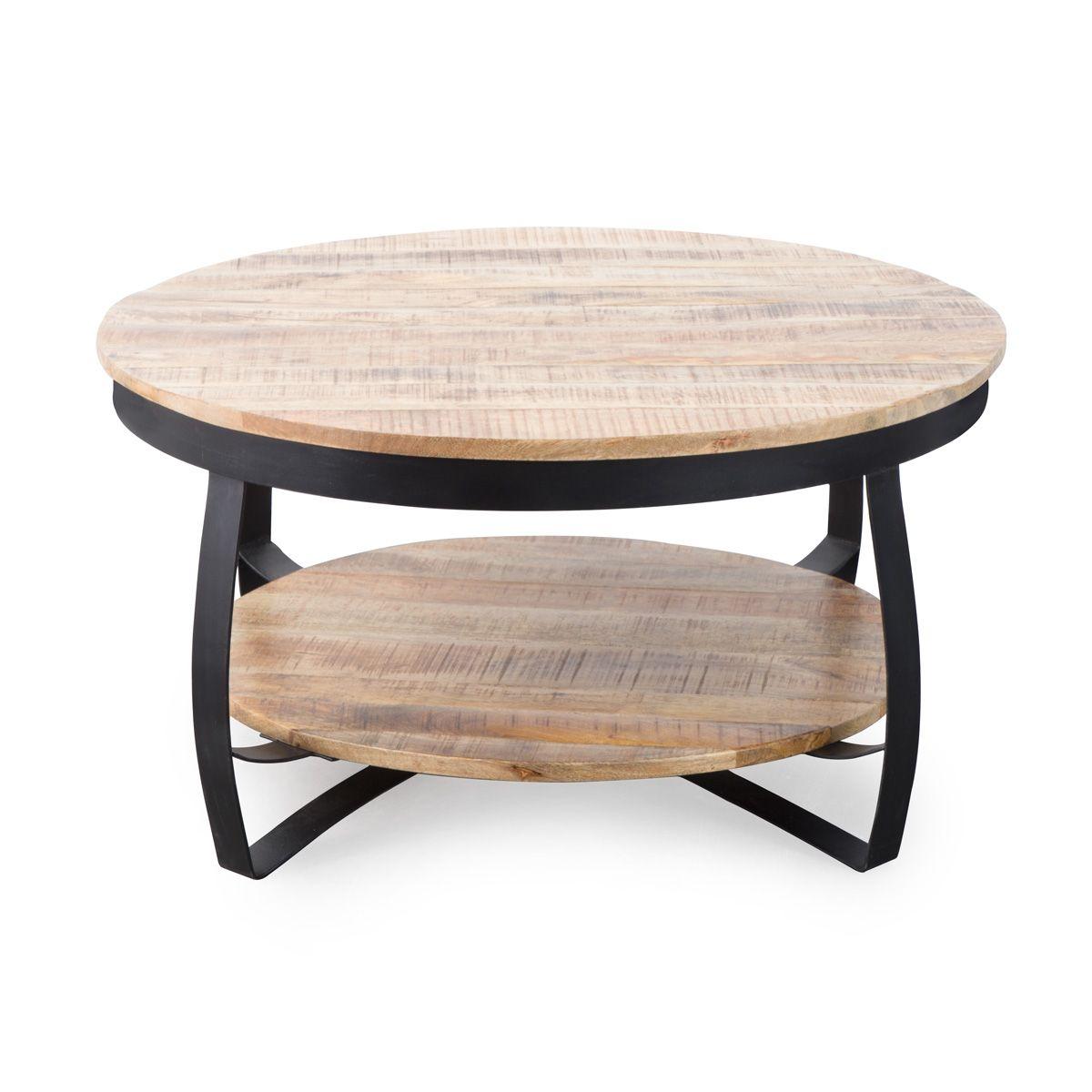 Table basse industrielle ronde bois et métal deux plateaux | GL48