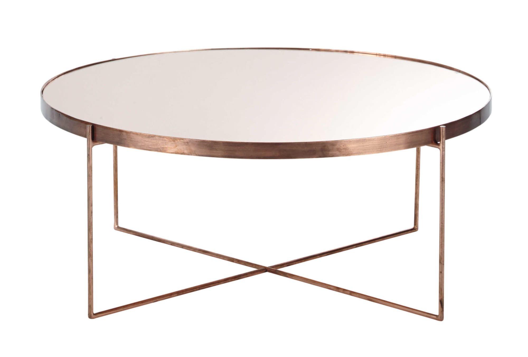 Table basse ronde avec miroir en métal cuivré