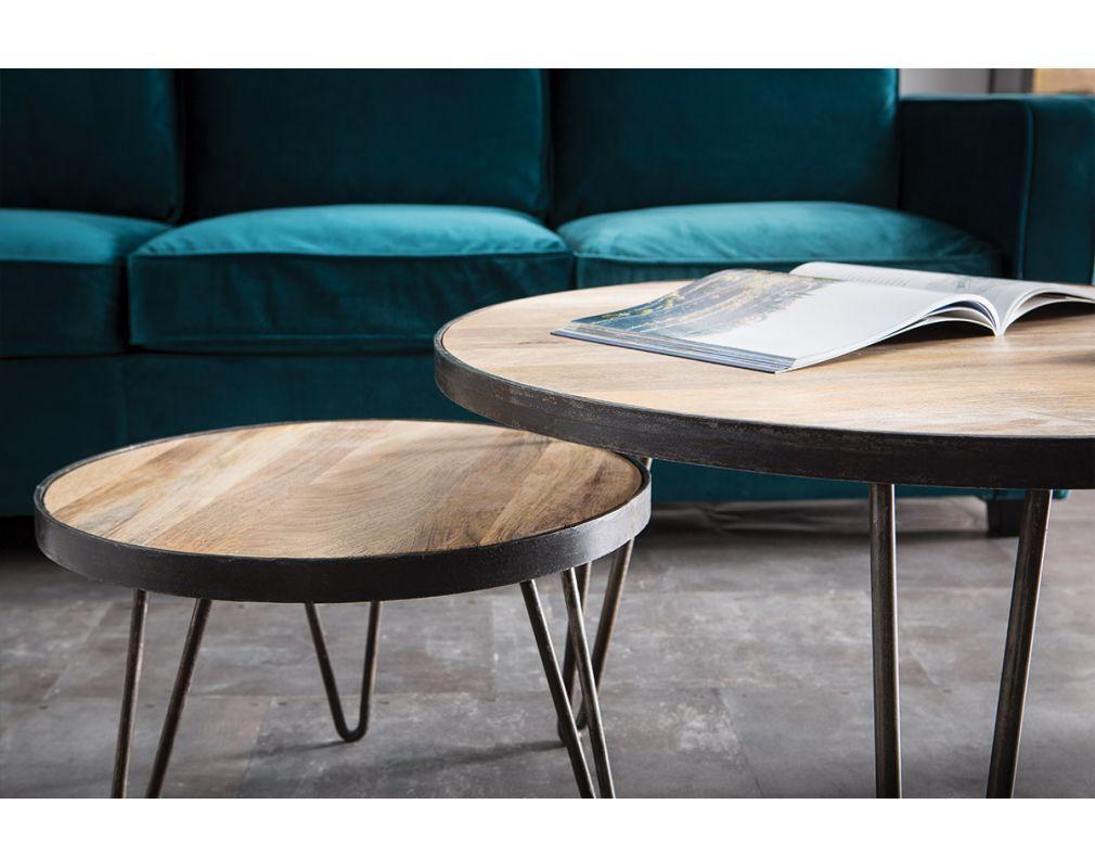 Table basse ronde design industriel 50×35 cm ATELIER