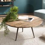 Table basse ronde industrielle en bois de teck et métal chez