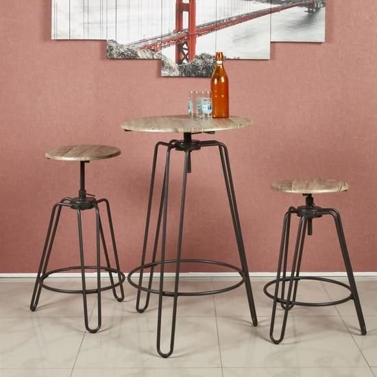 Table de cuisine noire et ensembles de chaises