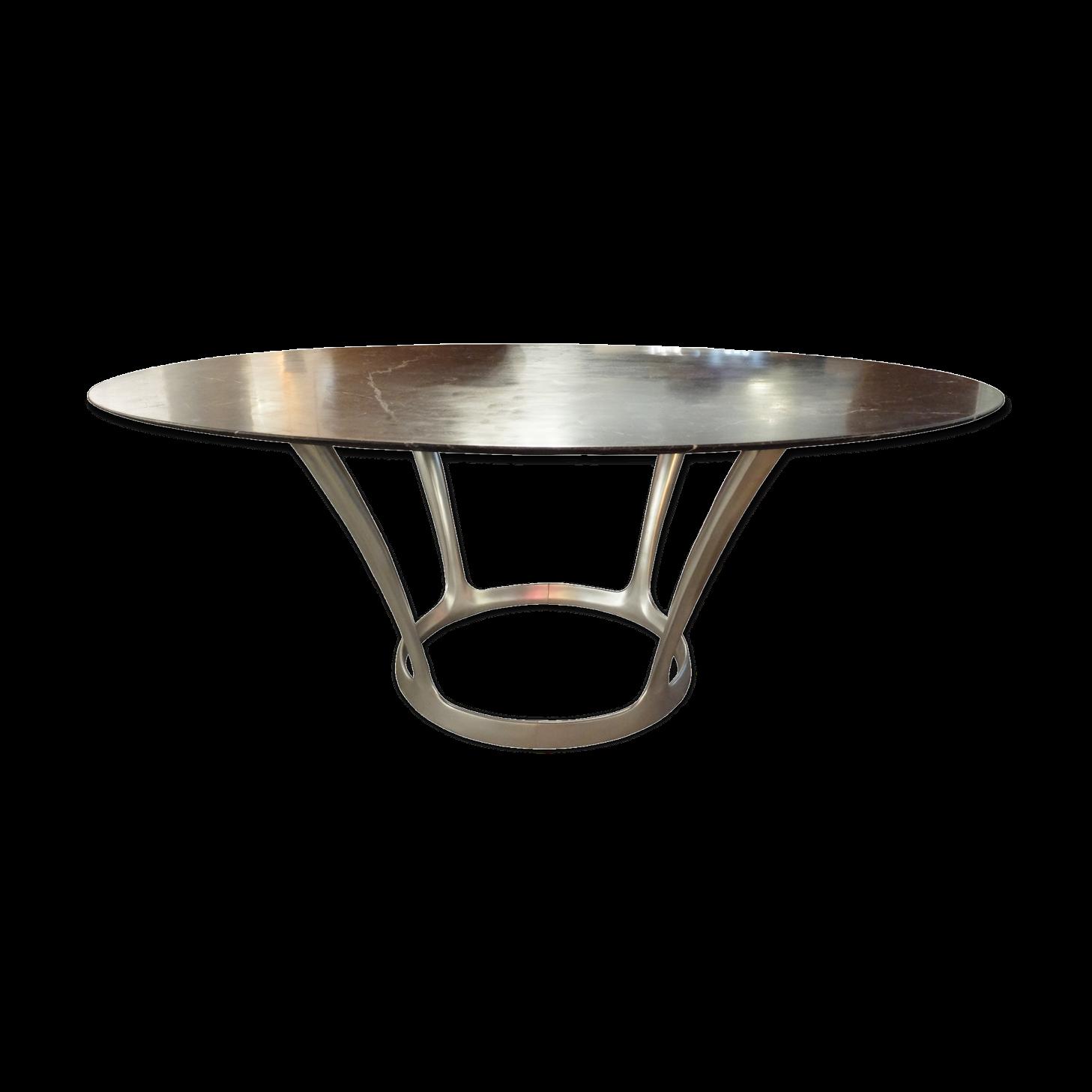 Table de repas ovale en marbre noir par Michel Charron France 1970