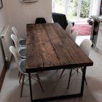 Table de salle à manger 6-8 places Chic Industrielle Chic - Bar Café Restaurant Meubles Acier Métal Bois massif Sur Mesure 242