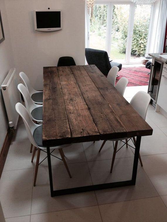 Table de salle à manger 6-8 places Chic Industrielle Chic – Bar Café Restaurant Meubles Acier Métal Bois massif Sur Mesure 242