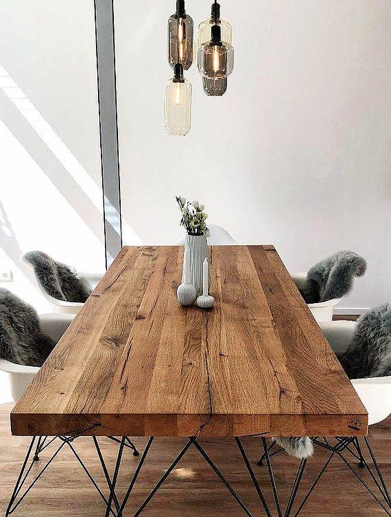 Table en bois massif Table design Table à manger Table en bois en chêne Vitra DAW | Holzwe …