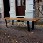 Table rustique en chêne, dessus de Table grande dalle chêne sur pieds U-cadre en acier, vivre bord meubles de salle à manger, meubles sur mesure fabriqués à la main