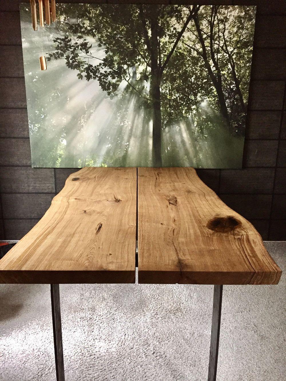 Tables de salle à manger – table en chêne bord d'arbre – un produit unique de dk_Moebelschmiede bei …