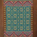 Tapis 3X5 à la main, géométrique, en laine bleue et sarcelle. Disponible aussi comme tapis 4X6 et autres tailles
