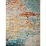 Tapis Indira abstrait gris / bleu clair / bleu marine
