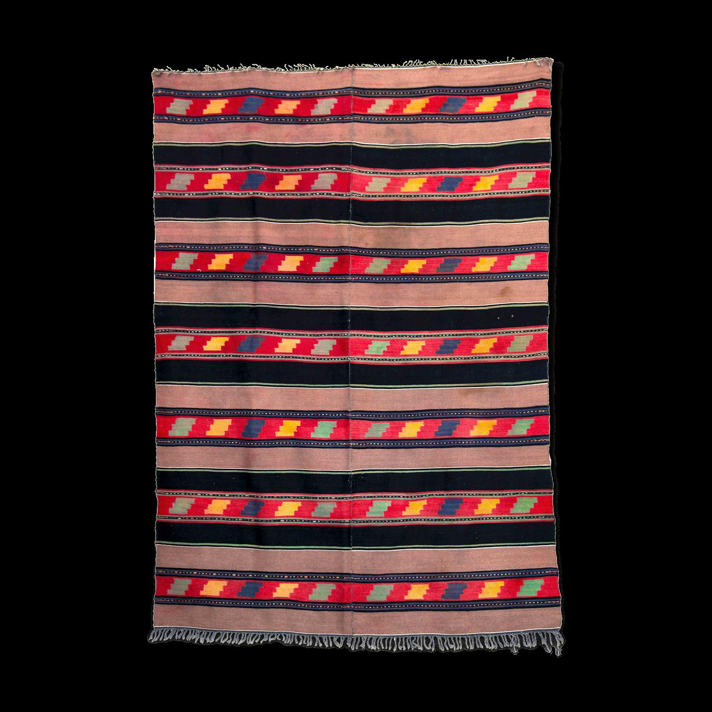 Tapis de laine brun noir avec des conceptions géométriques 224x150cm