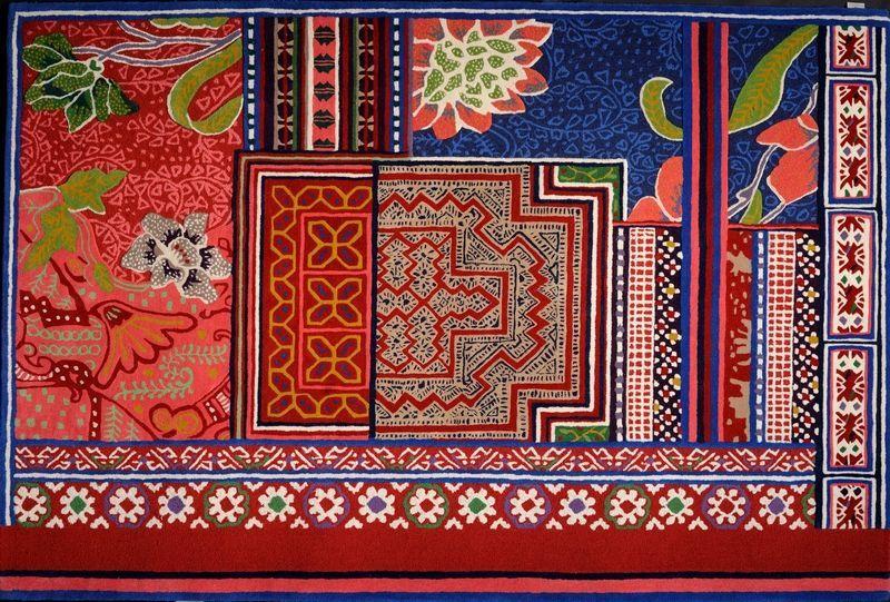 Tapis laine/soie végétale Baya multi rouge 170×240