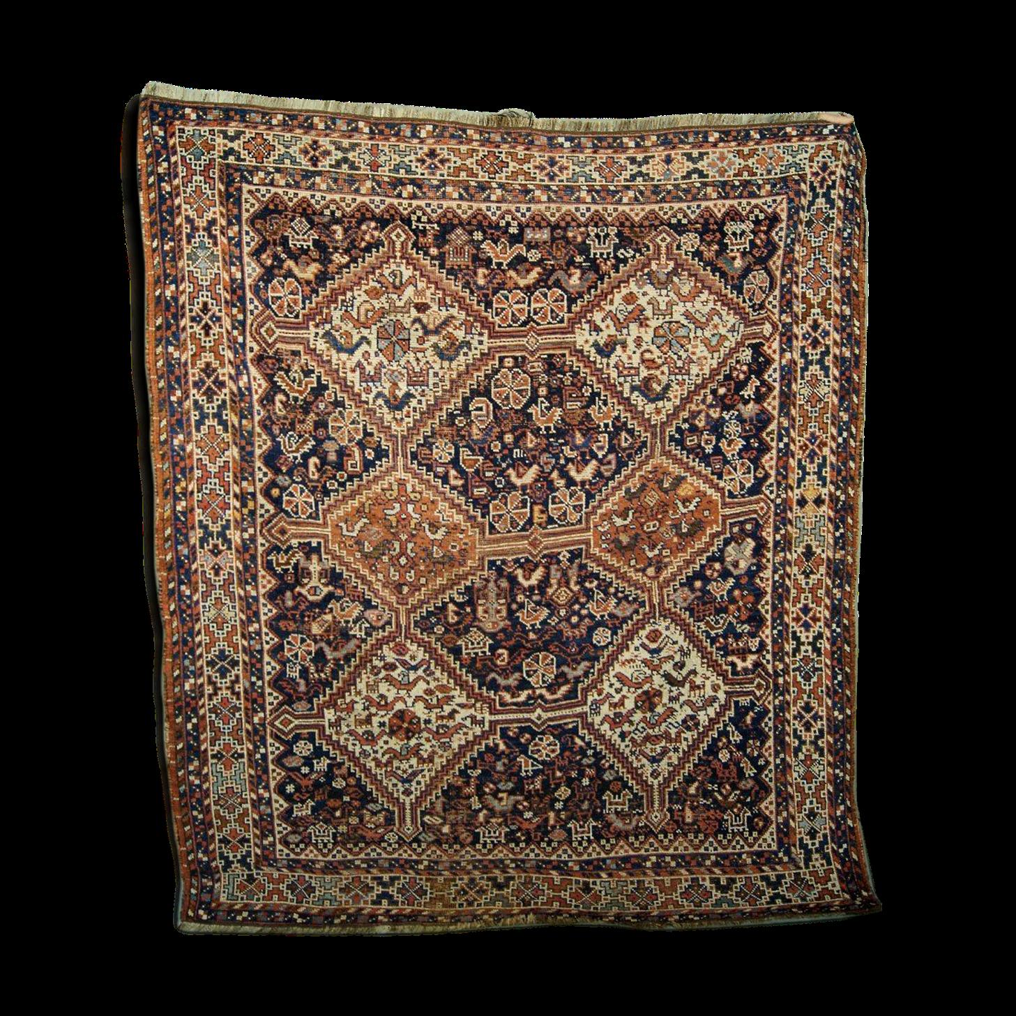 Tapis persan antique de shiraz années 1880 166x194cm