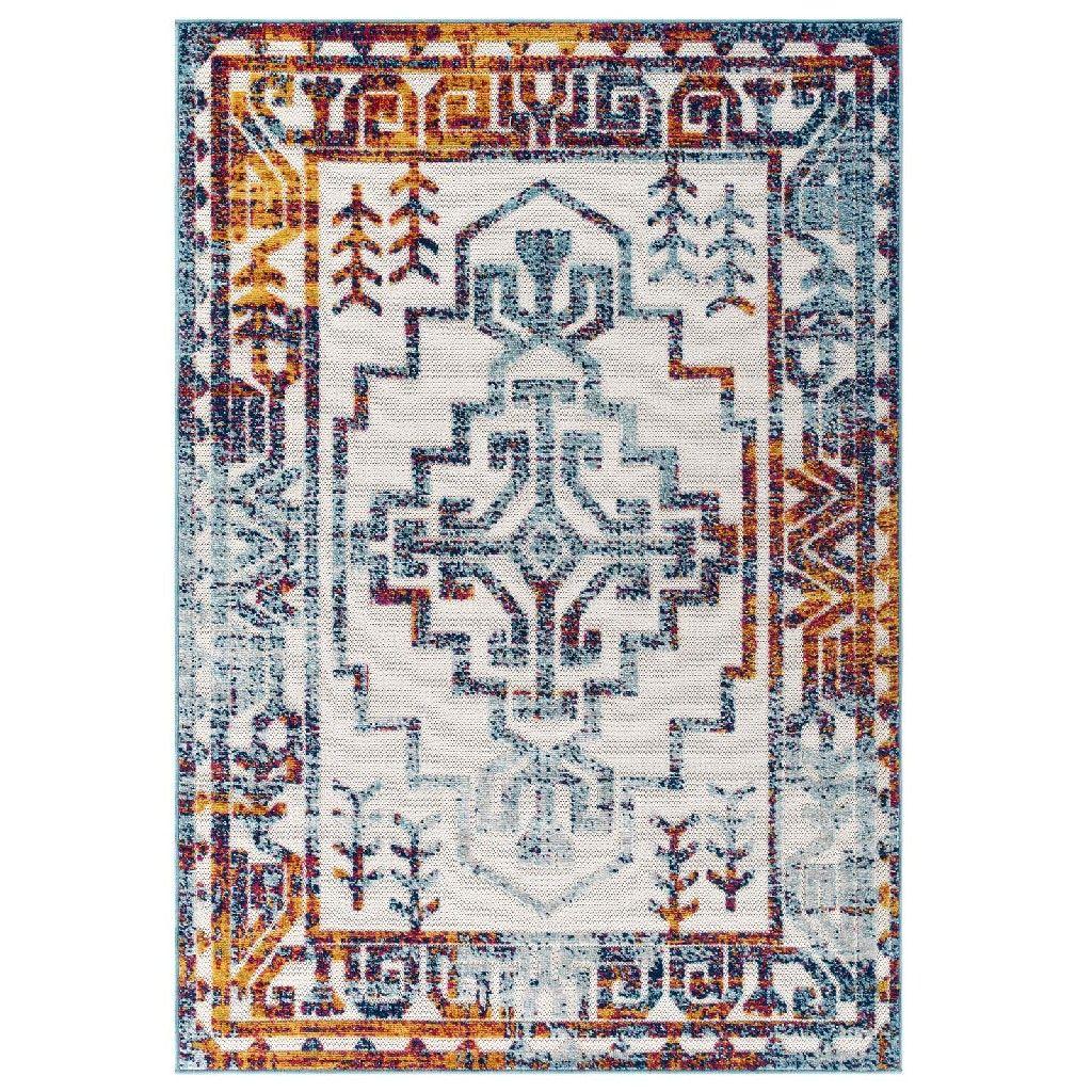 Tapis réfléchissant Nyssa géométrique en détresse sud-ouest aztèque 8×10 intérieur et extérieur tapis R-1181A-810