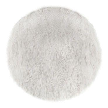 Tapis rond fausse fourrure blancMagnifique tapis rond à longs poils blanc de di…