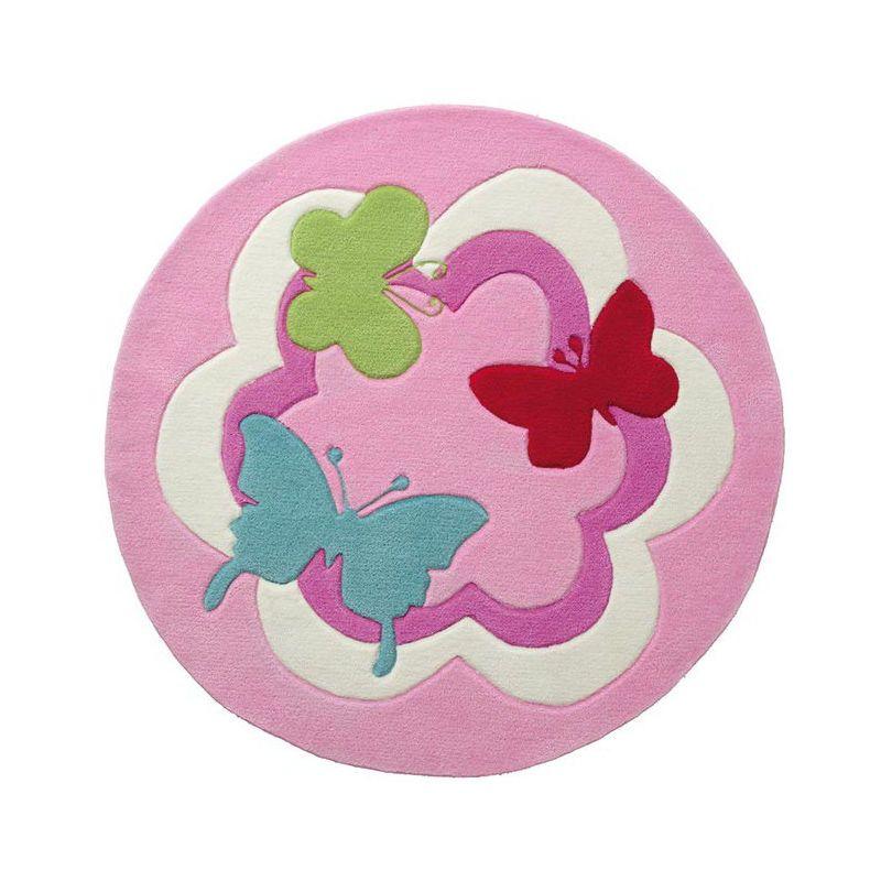Tapis rose pour enfant tufté main Butterfly Party Esprit Home Rose Ø 150 – 3118_18544