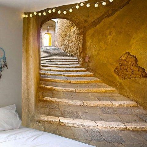 Tapisserie murale imperméable avec impression de tunnel en brique