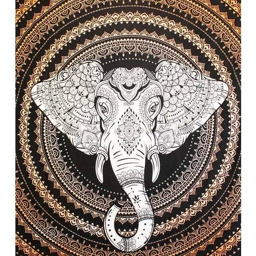 Tenture Space Elephant (Orange) Grand Format