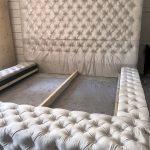 Tête de lit capitonnée et sommier capitonné (King size)