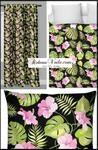 Tissu au mètre motif feuille verte Tropical Exotique fleur lilas rideau couette...