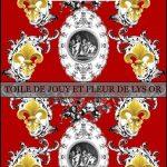Toile de jouy Anges et fleurs de lys or