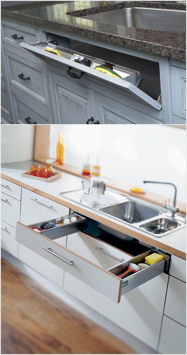 Un tiroir évier caché pour ranger les éponges