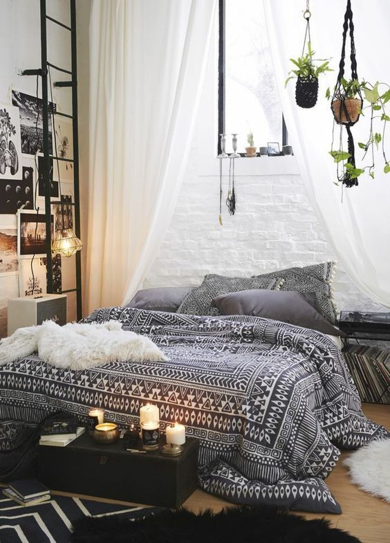 Une chambre noire et blanche au style bohème minimal. – Clem Around The Corner