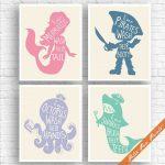 Unisex Kids Funny Bathroom (A) - Set of 4 Unframed Art Print (Rose, Blue Jeans, Periwinkle, Sea foam on Soft Cream) Boys / Girls Bath Poster