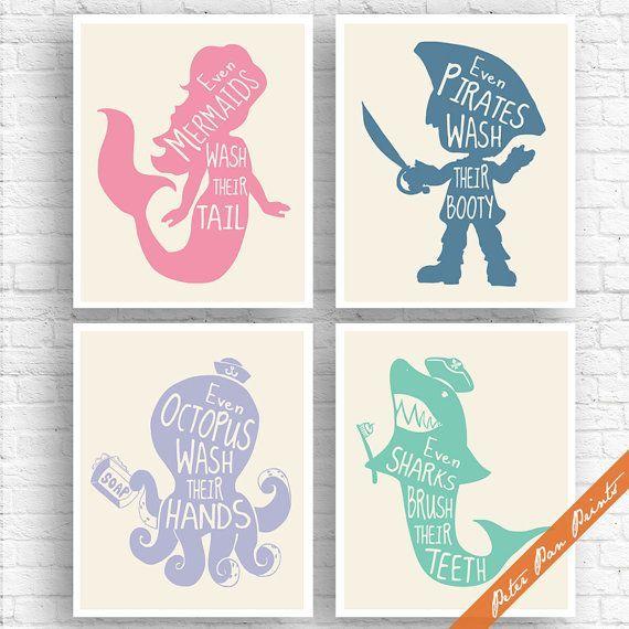 Unisex Kids Funny Bathroom (A) – Set of 4 Unframed Art Print (Rose, Blue Jeans, Periwinkle, Sea foam on Soft Cream) Boys / Girls Bath Poster
