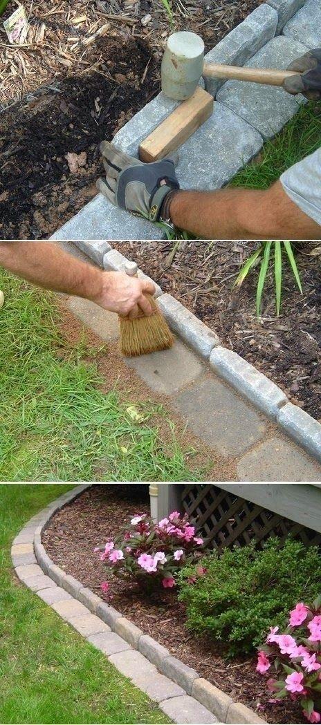 Utilisez des carreaux de ciment ou de pierre pour entourer votre jardin – la tondeuse à gazon peut couper à ras bord! > 25 +