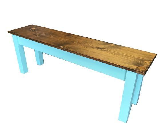 Vintage Blue Farmhouse Bench Shabby poussin