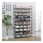 WYCTIN®Range-chaussures Meuble à Chaussures Étagère à Chaussures Armoire à Chaussures avec 10 étagères Métal et Tissu non tissé Noir