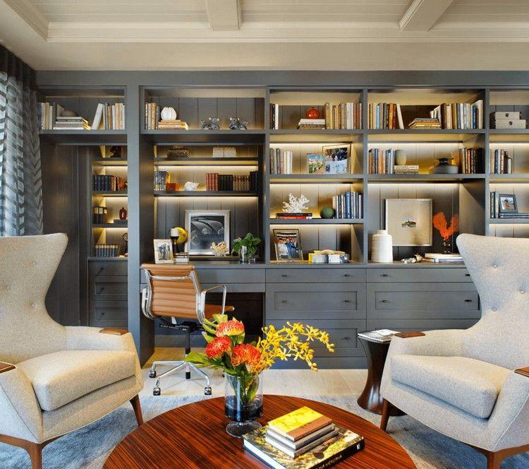 agencement bureau moderne, table ronde en bois massif et bibliothèque en bois g…