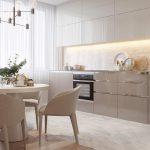 beige cuisine neutre planches de bois panneau plafond design idée moderne petit appartement ...