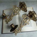 bougeoirs muraux en laiton style art nouveau, lot de 2 porte-bougie dorés, chan...