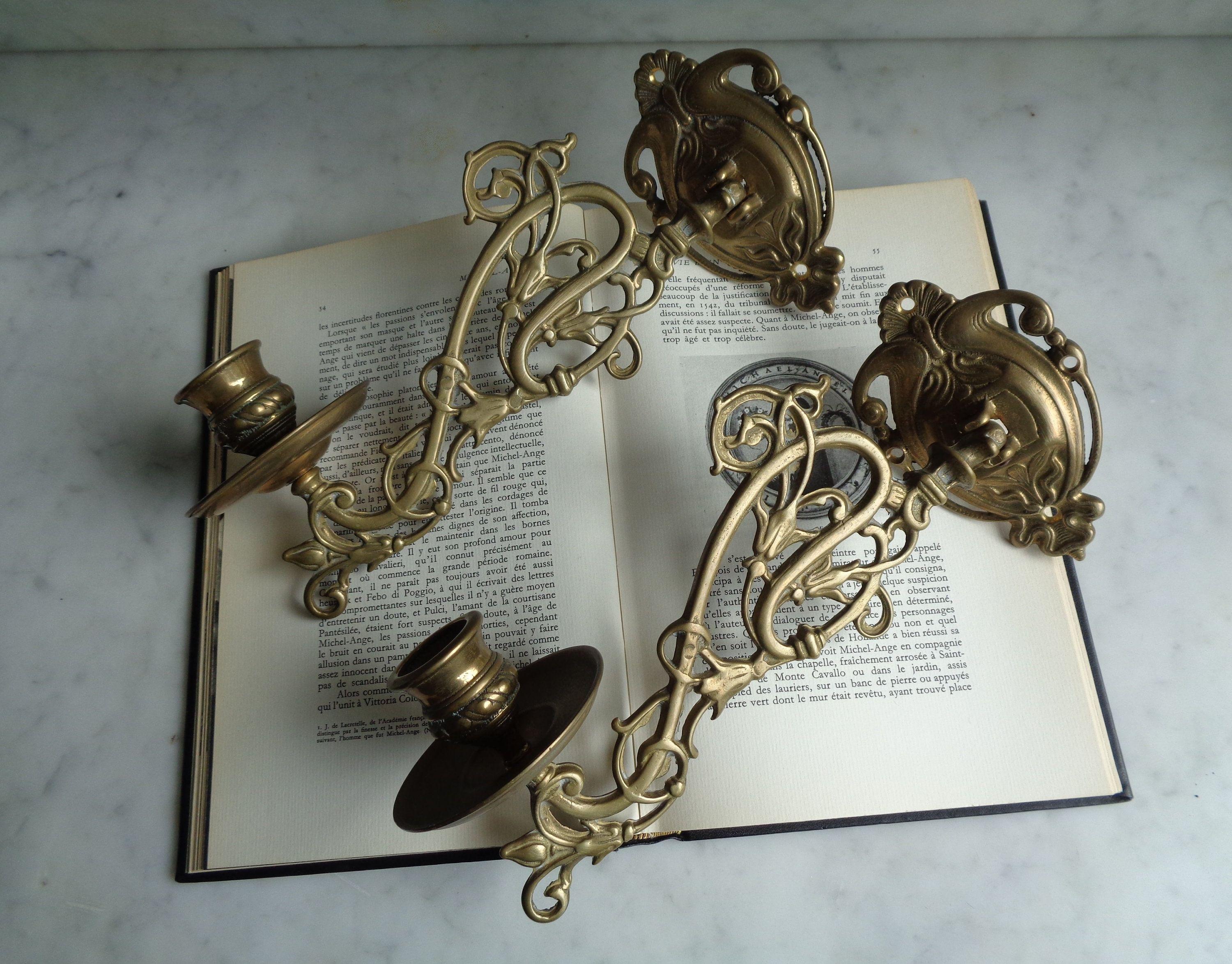 bougeoirs muraux en laiton style art nouveau, lot de 2 porte-bougie dorés, chan…