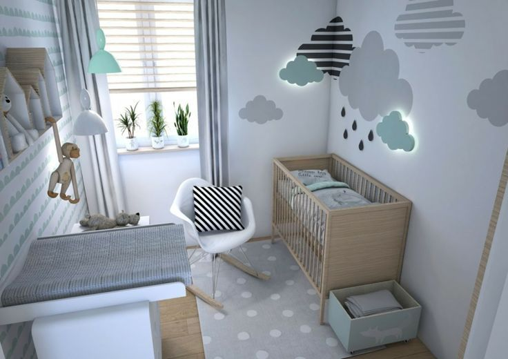chambre de bébé moderne à la menthe et gris attrayant tapis de décoration murale en pointillé