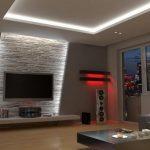 éclairage mural indirect dans le salon derrière la télé