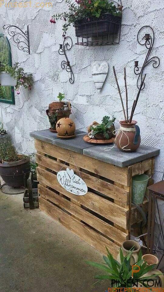 étagères de palettes jardin