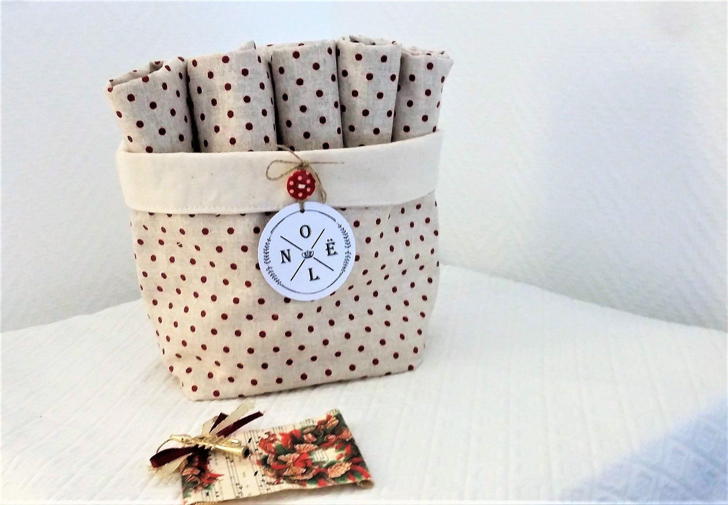 serviettes de table par 5 et panier ,cadeau femme ,linge de table,serviette de Noël,cadeau Noël,cadeau homme,kit zéro déchet
