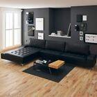 vidaXL Canapé d'angle Fonction sommeil en cuir synthétique Noir XXL Canapé Canapé Couchga…