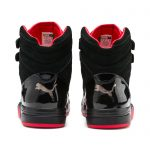 Men's PUMA Palace Guard Red Carpet Mid-Cut Basketball Shoe Sneakers in Black/Risk Red/Bronze size 4.5
