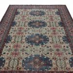 "Colourful Overdyed Rug 6'56"" x 9'15"", Distressed Rug, Faded Rug, Knotted Turkey Rug, Large Floor Rug, Medallion Rug, Wool Floor Covering"
