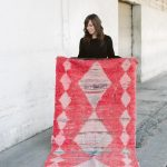 AURA - Vintage Boujad Moroccan Runner (bright pink, faded light pink, hints of blue - tribal rug)